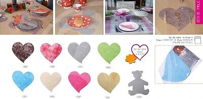 25 sets de table en forme de coeur couleur ivoire