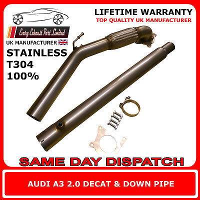 """Audi A3 2.0T Stainless Steel T304 Decat and Downpipe 3"""" Bore UK Made"""