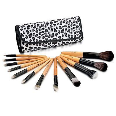 Glow 12 Professional Makeup Brushes Set in Leopard Print Case