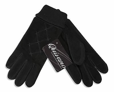 Quivano Ladies Real Suede Leather Gloves Thinsulate Lined Stretch Cuff 336-200