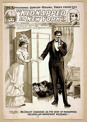 Photo Printed Old Poster Stage Drama Flyer Theatre Show Kidnapped In New York Co