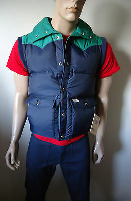 NOS VTG mens 70s NYLON WESTERN DOWN/FEATHER PUFFY VEST BLUE GOOSE CANADA BOYS L