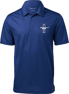 Mens Polo Shirt Ford Mustang The Legend Lives Crest Pocket Print Textured Polo
