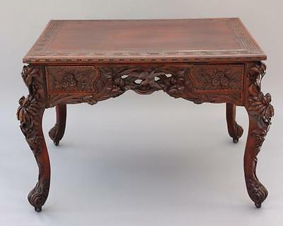 Turn of the Century Carved Chinese Table Birds Flowers 4 Drawers Antique (5479)