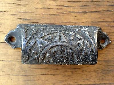 Sun design Ornate Antique Cast Iron type tray handle pull