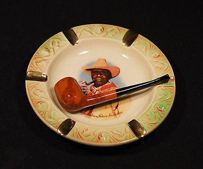 1950's Wembley Ware Aust Pottery Hand Painted Native Stockman With Pipe Ashtray.