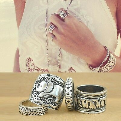 Women Fashionable Vintage Retro Elephant Joint Knuckle Nail Ring Set of 4 Rings