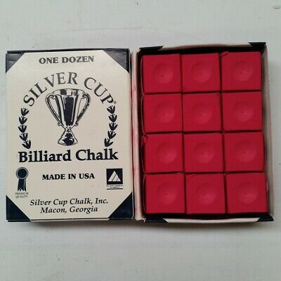 Silver Cup Billiard CUE CHALK 12 Pieces - RED - Made In USA