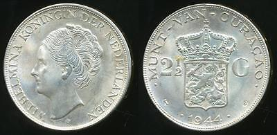 Curacao, Kingdom of Netherlands, 1944-D 2-1/2 Gulden (Silver) - Uncirculated