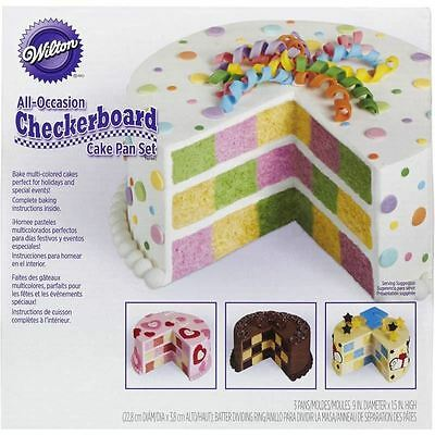 Wilton All Occasions Checkerboard Pattern Cake Pan Set 3 Pack Baking Making