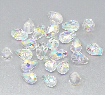 25  CLEAR AB TEARDROP FACETED CRYSTAL GLASS BEADS ~ 8mm  x 11mm~ NECKLACE (52B)