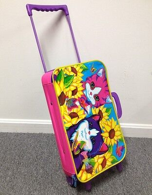 "Vintage Lisa Frank ""Kittens"" Luggage Bag w Wheels / Carry Case Binder Style RARE"
