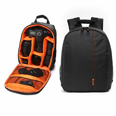Camera Lens Backpack Waterproof DSLR Bag Case for Canon Nikon Sony Orange