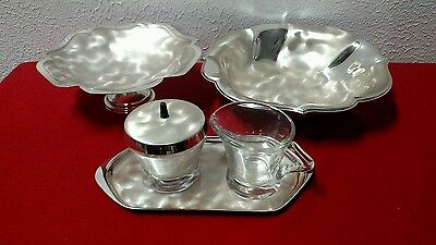 Mid century modern WMF Ikora silver plated bowls and coffee creamer set vintage