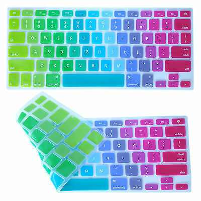 """Rainbow Silicone Keyboard Protector Cover For Macbook Air Pro Retina 13"""" 15"""" 17"""