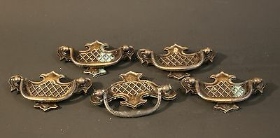 "Vintage Metal drawer pulls X5 backplate with bail 3"" between screw holes 4""X2.5"""