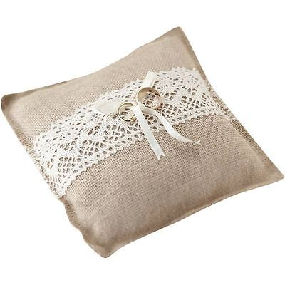 Ginger Ray Vintage Affair Ring Square Cushion Pillow Ribbon Lace Rustic Wedding