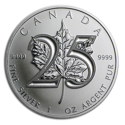 2013 Canada 1 oz Silver Maple Leaf BU (25th Anniv) - SKU #79602