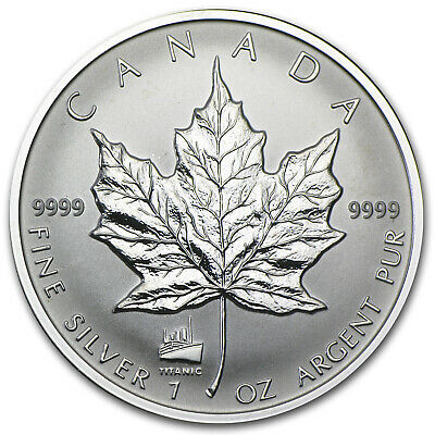 1998 Canada 1 oz Silver Maple Leaf Titanic Privy - SKU #21130
