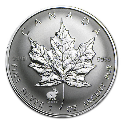 1999 Canada 1 oz Silver Maple Leaf Lunar Rabbit Privy - SKU #24510