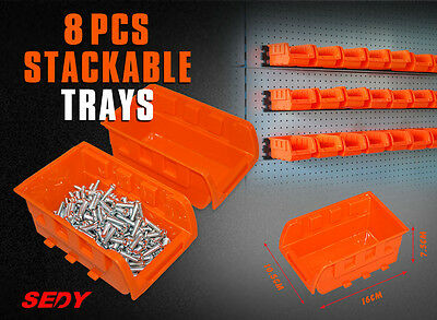 8PC Wall Mounted Storage Bins Rack Set Nuts Bolts Organizer Parts 97902