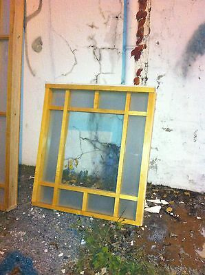 Large Birch wood glass window room divider architectural salvage