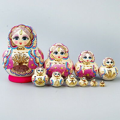 Wooden Matryoshka Russian Nested Maiden Wishing Dolls Gift Collection 10pcs #QW