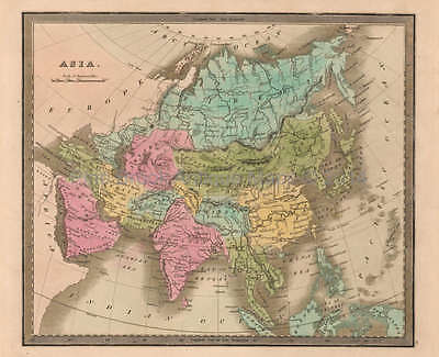 Asia Antique Map Greenleaf 1844 Original