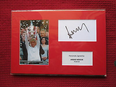 Arsenal - Gunners Arsene Wenger Hand Signed A4 Mounted Card & Photo Display- Coa