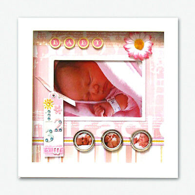 Scrapbook Embellished BABY GIRL Photo Picture Frame Shadow Box Keepsake
