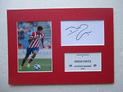 Chelsea Diego Costa Genuine Hand Signed A4 Mounted Card & Photo Display - Coa