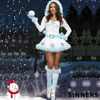 Secret Sinners Sexy Ladies Snowman Costume Christmas Fancy Dress Outfit 367