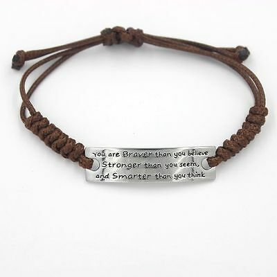 Women Men Brown Artificial braided leather cord Handmade Cuff Wristband Bracelet