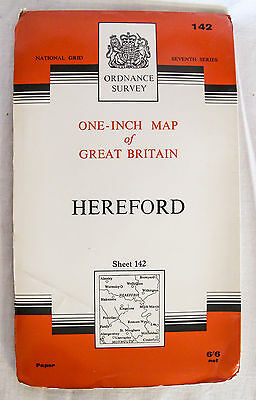 Vintage Ordnance Survey Seventh Series One Inch Map - Hereford (142)