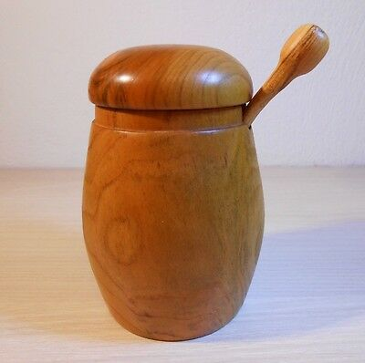 Wooden Sugar Bowl, Spoon and Lid Handmade Solid Apricot Wood Sugar Pot Container