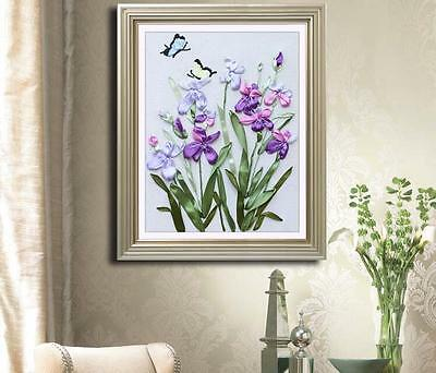 Ribbon Embroidery Kit Blooming Orchids and Butterfly Needlework Craft Kit RE3005