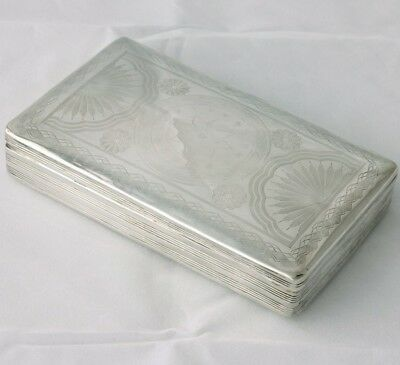 Dutch Antique Silver Large Table Snuff Tobacco / Desk Box. Date 1849