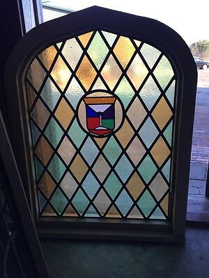 Sg 280 Antique Arched Stained Window 39 1/2 Inches High By 30 1/2 Inches Wide
