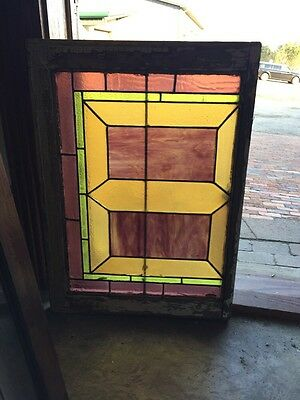 "Sg 283 Antique Stained Glass Geometric Window 21"" X 29"""