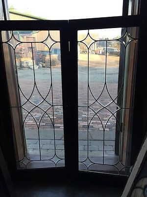 Sg 284 One Pair Antique Beveled Glass Cabinet Doors
