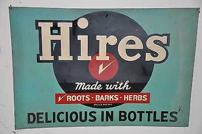 """Rare Large 48"""" Hires Root Beer """"Delicious in Bottles"""" Advertising Sign Soda Pop"""