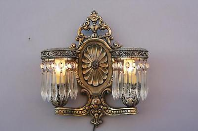 1920s Double Light Sconce w Crystal San Francisco Antique French Colonial (6277)