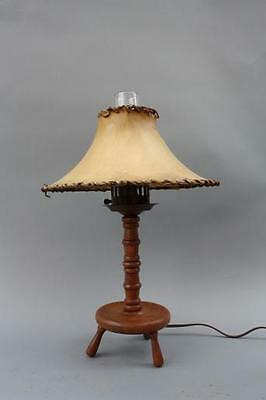1930s Rancho Monterey Wood Table Lamp Original Skin Shade Antique Vintage (6463)