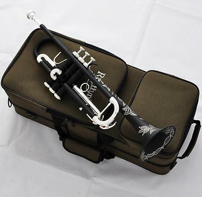 Matte Black Trumpet horn Monel Valves Beautifully Hand carved New Case
