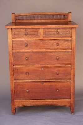 1910 Arts & Crafts Oak Wood Highboy Dresser 6 Drawers Caned Back Storage (8665)