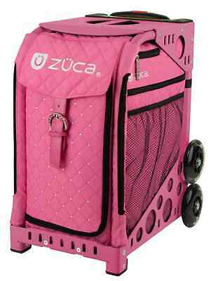 "All New! Zuca ""PINK HOT"" Insert Bag with RHINESTONES ON FRONT & PINK Frame"