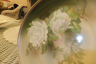 "Beautiful antique wurttemberg 81/2"" plate  white roses on green painted gold"