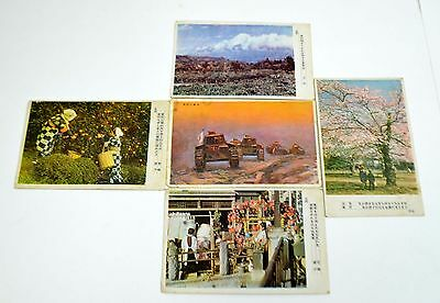 Set of 5 WWII Unused Japanese Post Cards Including One With  A Japanese Tank