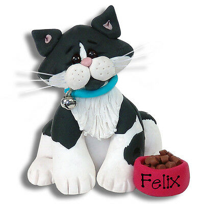 BLACK & WHITE TUXEDO KITTY CAT Personalized Ornament Handmade Polymer Deb & Co