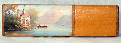 ANTIQUE c1800 Wooden Needlecase w/ Lovely Landscape Painting Chafrelle de Gell
